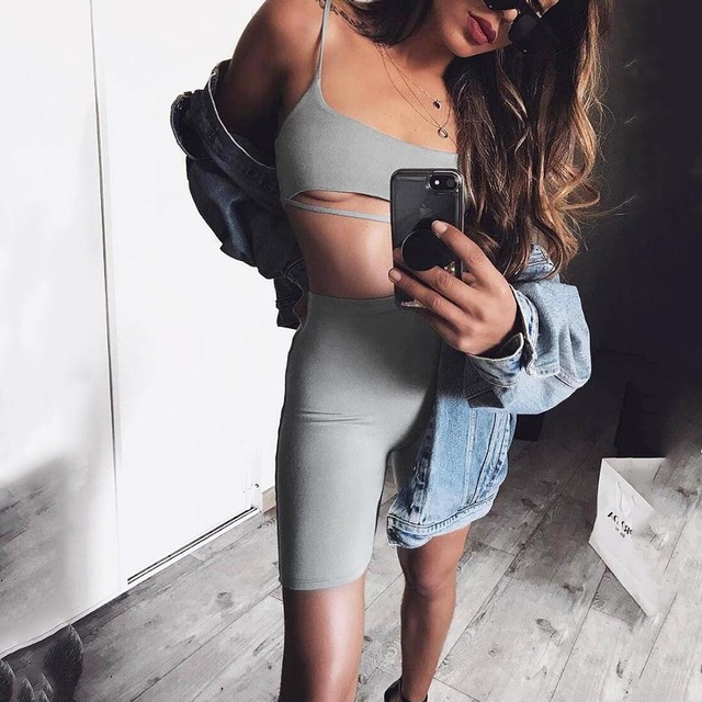 2 Piece Set Women Crop Tops and Biker Shorts Sweat Suits Sexy Club Outfits Two Piece Casual Tracksuit Matching Sets Wholesale 5