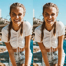 Hirigin new womens summer short-sleeved bandage cut top casual sexy short T-shirt