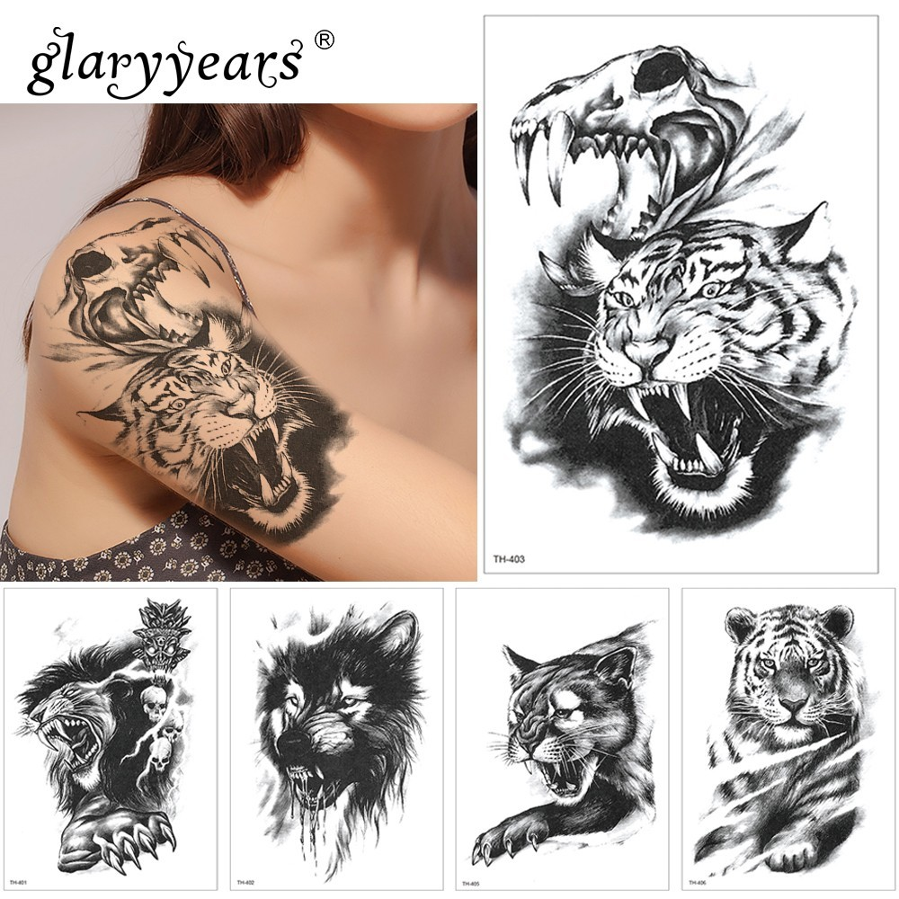Glaryyears 1 Sheet Temporary Tattoo Sticker FashionFake Tatoo Lion Flash Tatto Waterproof Small Body Art Men Women TH Link 10