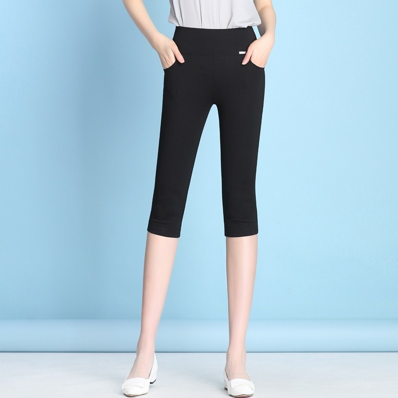 New 2019 Fashion Women's High Waist Pencil   Pants     Capris   Female Casual   Pants   Stretch Skinny Summer Calf-Length   Pants   Plus Size