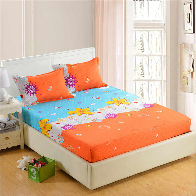 1pc 100%Polyester Fitted Sheet Mattress Cover Printing Bedding Four Corners With Elastic Band Bed Sheet 160cm*200cm 64