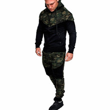 Men Fashion Long Sleeve Splice Camouflage Print Hoodies Sport Sweatshirt Coat Male Casual Zip Up Hooded Sweatshirt Jacket Outw