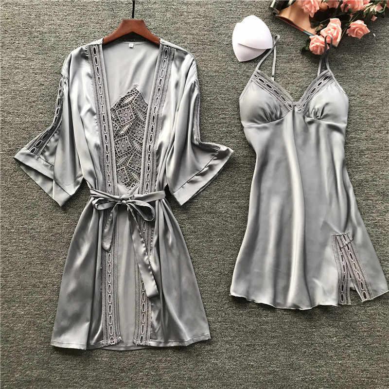 2019 女性ローブ & ガウンセットセクシーなレースの睡眠ラウンジのスパースター長袖女性ナイトウェアバスローブナイト胸パッド