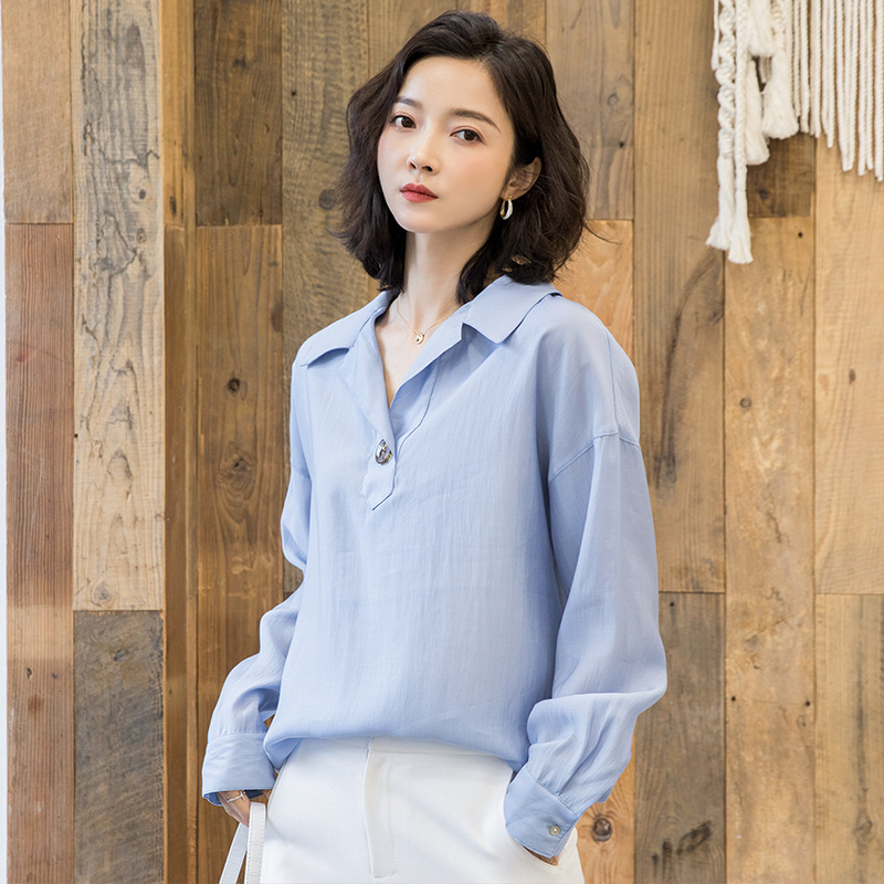 2019 new arrival women 39 s fashion shirt female lapel long sleeve loose chiffon blouse G521 in Blouses amp Shirts from Women 39 s Clothing
