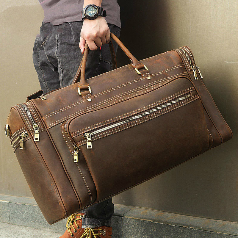 Men's Retro Leather Travel Bag European And American 773-40 Large-capacity Leather Portable Duffel Bag Multifunction Tote Bags