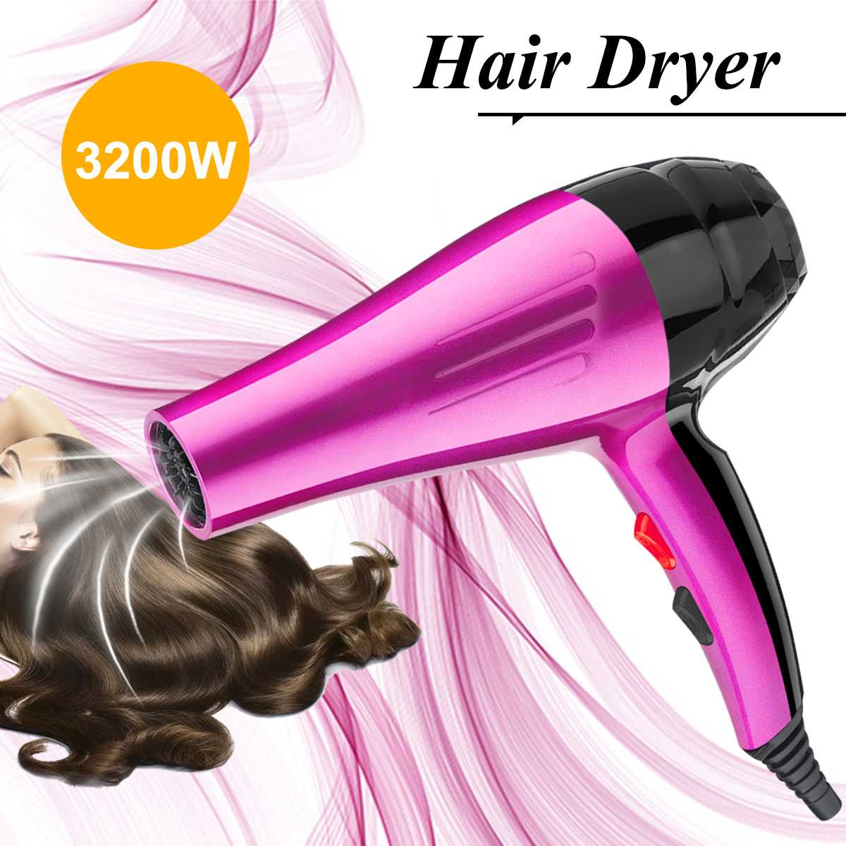3200W Powerful Professional Salon Hair Dryer Negative Ion Blow Dryer Electric Hairdryer Hot/Cold Wind With Air Collecting Nozzle3200W Powerful Professional Salon Hair Dryer Negative Ion Blow Dryer Electric Hairdryer Hot/Cold Wind With Air Collecting Nozzle