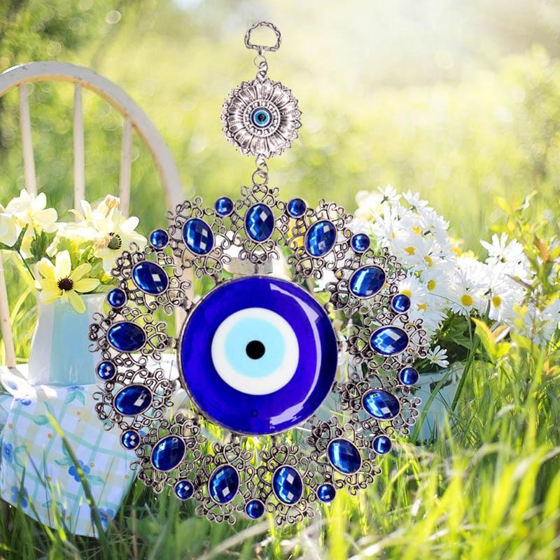 1 x Wall Hanging Turco Blue Evil Eye Fiore Amuleto Hamsa Decorazione di Protezione