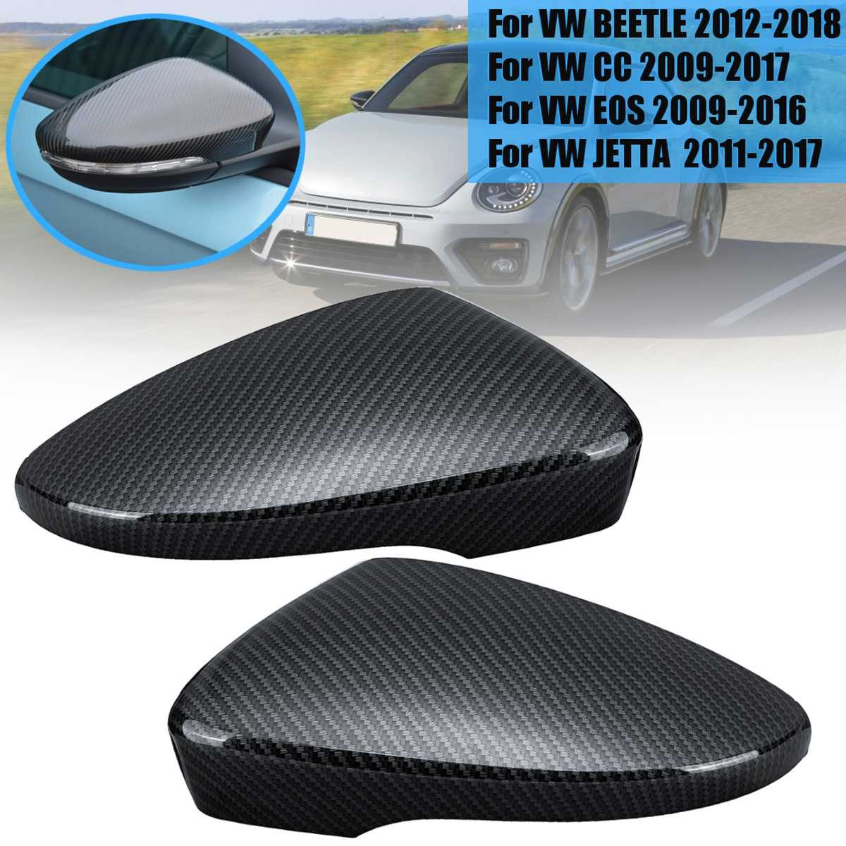 Car Exterior Parts Pair Carbon Black Wing Door Rearview Mirror Cover For VW Passat Scirocco Beetle