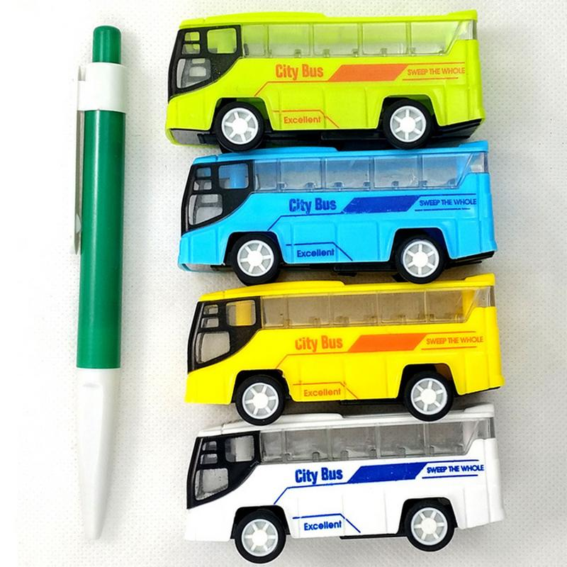 Mini Alloy Diecast Pull Back Car Model Toy For Boys Kid Portable Cartoon Plastic Puzzle Toy Car For Children 4 Colors