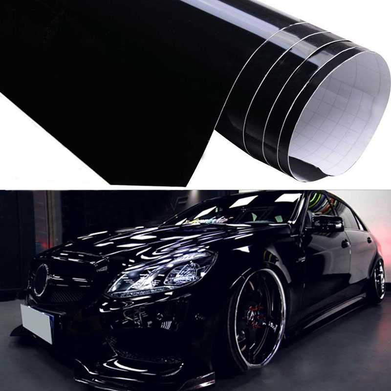 1pcs Shiny Gloss Glossy Black Car Film Wrap Vinyl Decal Exterior Inner Refit Sticker 59*152cm Adhesive Sticker Grain Car Styling
