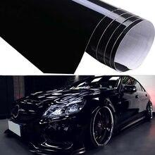 Filme de carro brilhante, filme de carro preto brilhante, envoltório, decalque exterior, reembolso, adesivo 59*152cm, 1 peça adesivo do carro do grão