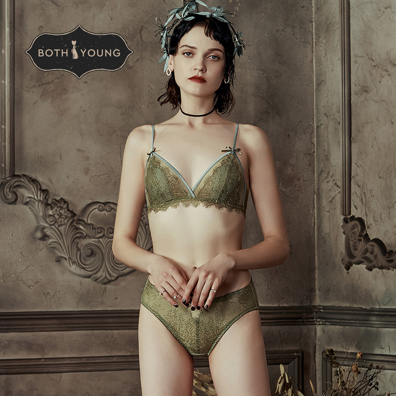 BOTHYOUNG 2019 New Wire Free bra French Sexy Underwear Thin Lace Bralette Set
