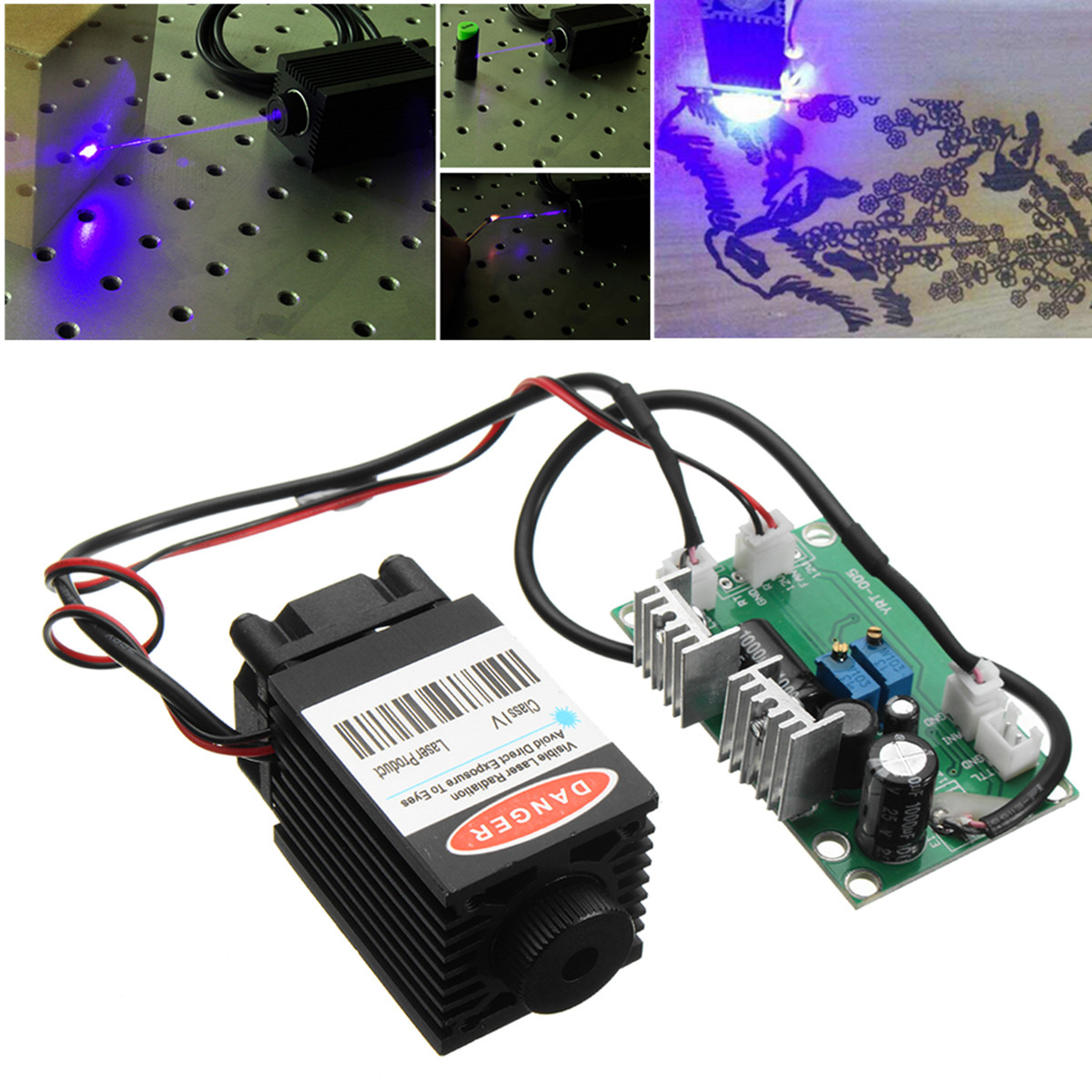 1.6W 445nm 450nm Focusing Blue Laser Module Laser Engraving And Cutting TTL Module 1600mW Laser Can Engrave On wood