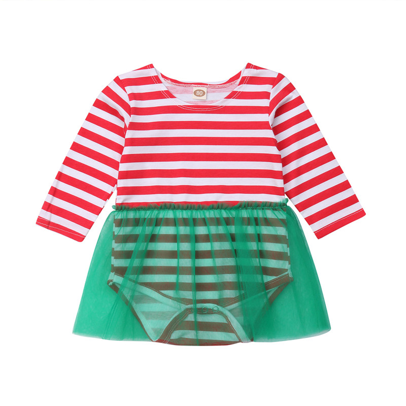 7afd75811f70 Detail Feedback Questions about Infant Christmas Baby Girl Striped  bodysuits mesh dress Jumpsuit ropa bebe cotton long sleeve baby girl  clothes Bodysuit ...