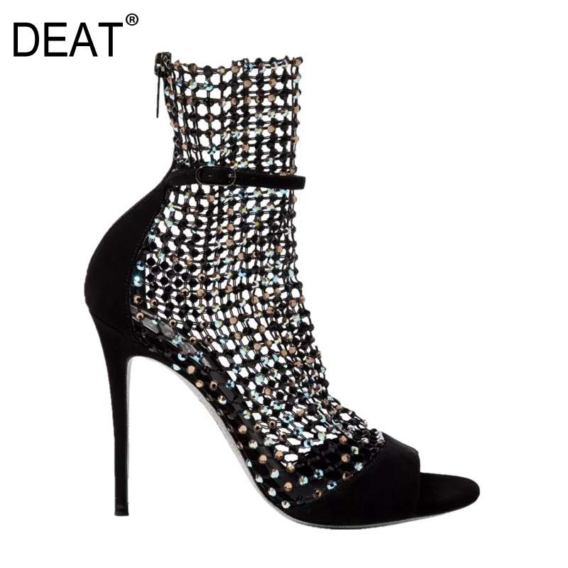 DEAT 2019 New Spring Summer Round Toe Mesh Buckle Strap Hollow Out Simple Thin High