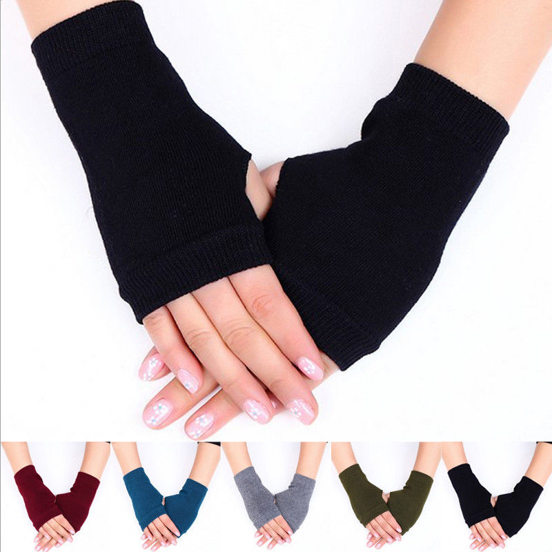 Brand New 1 Pair Women Cashmere Fingerless Warm Winter Gloves Hand Wrist Warmer -1034