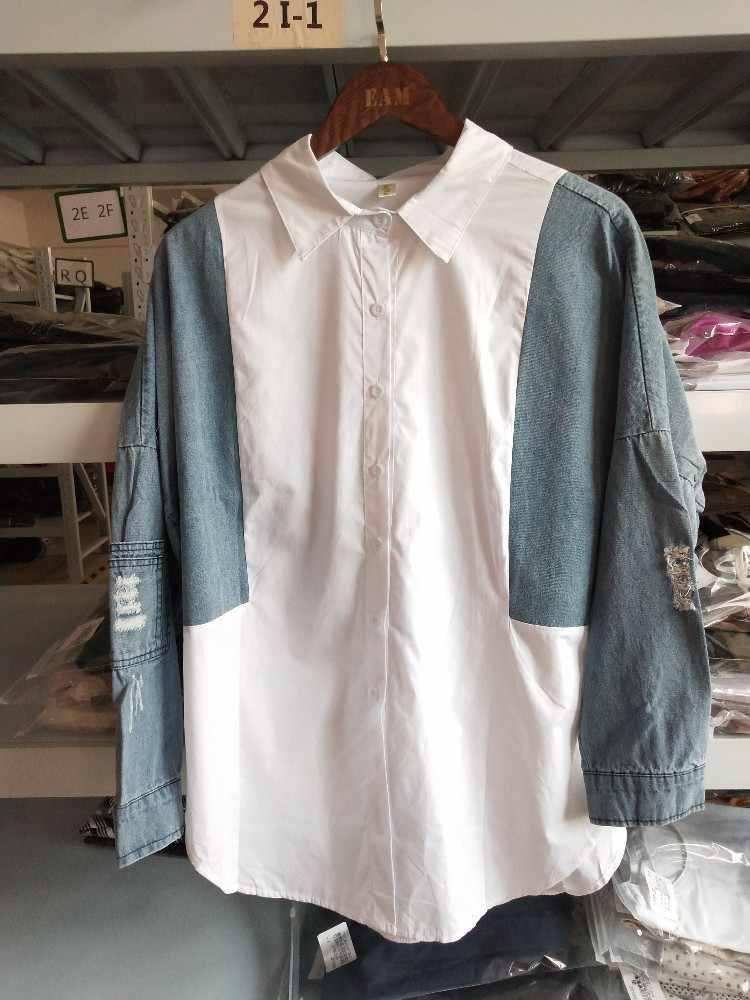 """женская блузка, SHENGPALAE, рубашка свободная, джинсовая рубашка женская """"blusas femininas de verão 2019"""", джинсовая, с длинным рукавом, осень новая мода"""