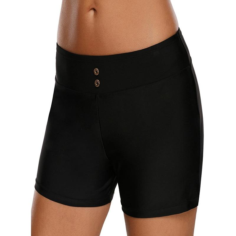 Sexy Women Swim Bottom Solid Color High Waist Boardshorts Swim Pants Swimwear Plus Size Woman Beach Sports Short Pants Black