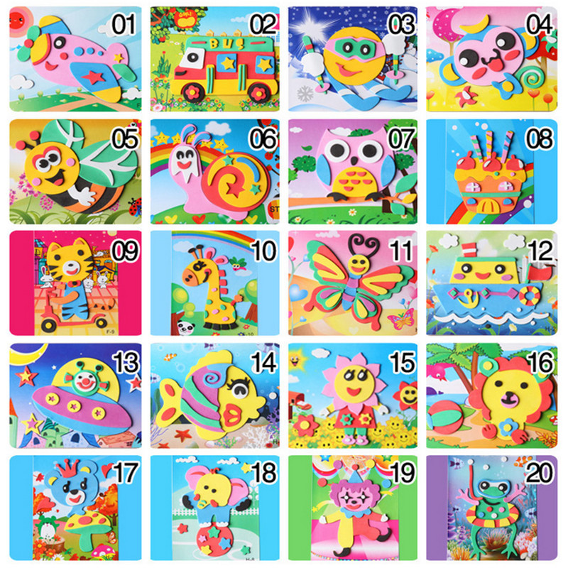 Happyxuan 20 Designs 3D Eva Foam Craft Sticker DIY Puzzle Baby Montessori Learning Education Toys For Kids 3-6 Years