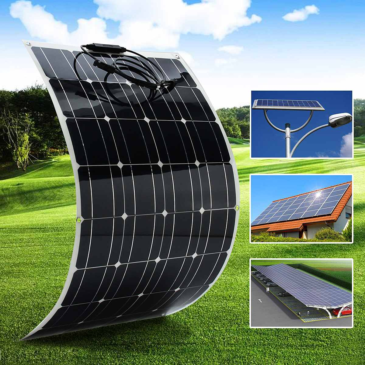 12V 100W Flexible Solar Panel Plate Solar Charger For Car Battery 12V Phone Battery Monocrystalline Cells 18V US AU UK Stock гарнитура defender warhead hn g130 черный 64103