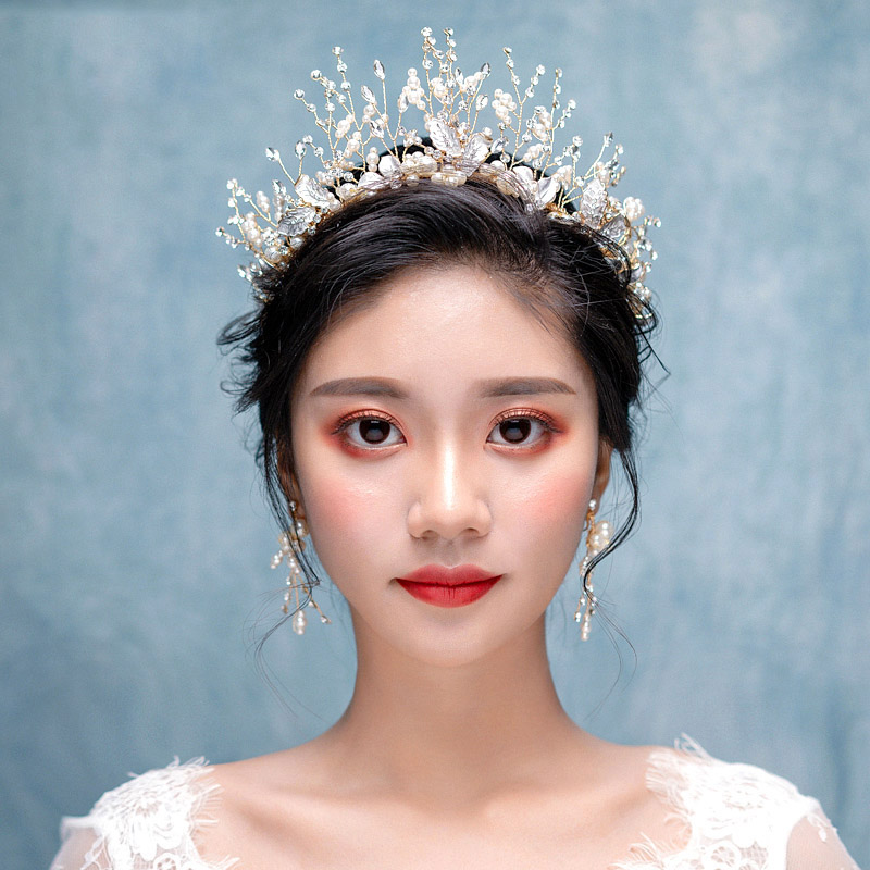 Wedding Bride Gold Princess Crown Diadem Queen Pearl Rhinestone Bridal Hair Accessories Headpiece Korean Head Jewelry Tiara Set муфты ганзена