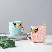 400ML Coffee Mug Travel Tea Cups And Mugs Ceramic Porcelain Creative Morning Set Gold Mermaid Golden Handle Milk For Kid