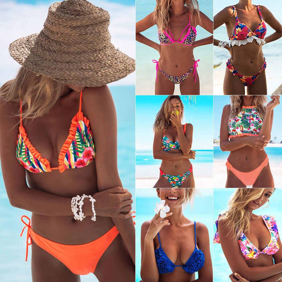 fdd7fad88b4 2019 Women Sexy Brazilian Bikini Floral Print Swimwear Halter Push Up Bikini  Set Swimsuit Female Bandage