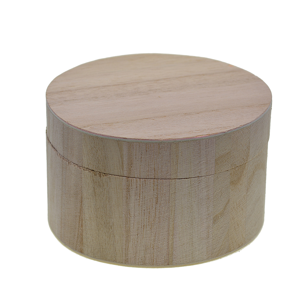 Plain Wooden Case Storage Box Round Shapes for Jewellery Small Gadgets Gifts