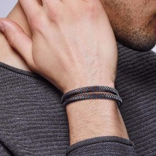 Personalized Gents Double Strand Braided Leather Bracelet fo