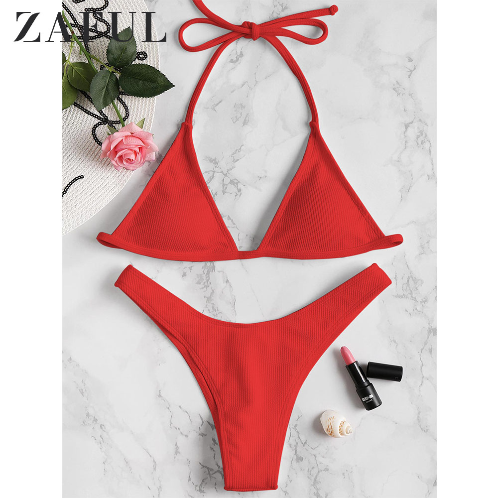 ZAFUL Rib Padded Halter Bikini Set Wire Free Sexy Padded Solid Swim Suit Women Summer Swimwear Lace Bathing Suit 2019