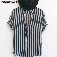INCERUN de moda a rayas Camisa de los hombres de cuello botón Streetwear Casual camisas marca de hombres de hip-hop Camisetas manga corta Camisa 2019 5XL