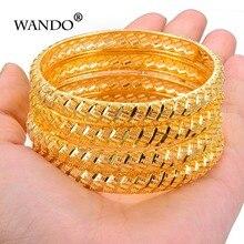 أساور زفاف من واندو مكونة من 4 قطع باللون الذهبي للنساء أساور للعروس مجوهرات أثيوبية/فرنسا/أفريقية/دبي (A: off) (B: Open