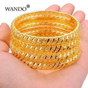 Wando 4Pcs Gold Color Wedding Bangles for Women Bride Bracelets Ethiopian/france/African/Dubai Jewelry(A:closed)(B:Open - DISCOUNT ITEM  45% OFF All Category