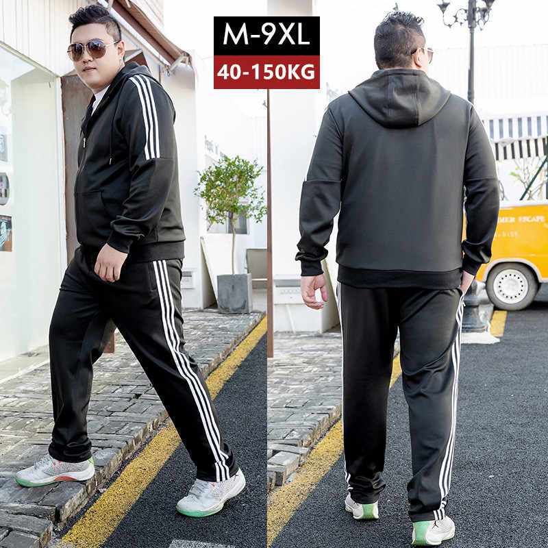 トラックスーツの男性黒ジョギング 2 ツーピースセットトラックスーツスウェットパンツプラスサイズ 6XL 7XL 8XL 9XL ボーイズパーカー黒メンズ服セット