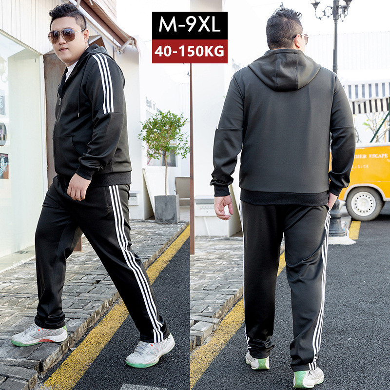 Tracksuit Men Black Jogging 2 Two Piece Set Track Suit Sweatpants Plus Size 6XL 7XL 8XL 9XL Boys Hoodies Black Mens Clothes Sets
