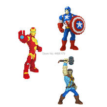 hot LegoINGlys Marvel Super hero Avengers iron Man Captain America Raytheon Micro Diamond Building Blocks model bricks toys gift sermoido sale spiderman iron man captain america superman figure motorcycle super hero model cap building blocks set model kits