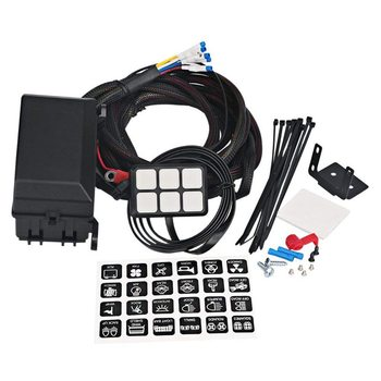 Panel de interruptor de 6 bandas sistema de relé electrónico caja de Control de circuito resistente al agua fusible caja de cableado arnés para coche Au