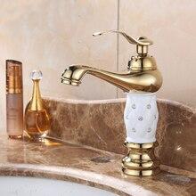Grifos de latón con diamante para lavabo, grifo mezclador de oro, monomando europeo clásico, grifo de lavabo frío y caliente