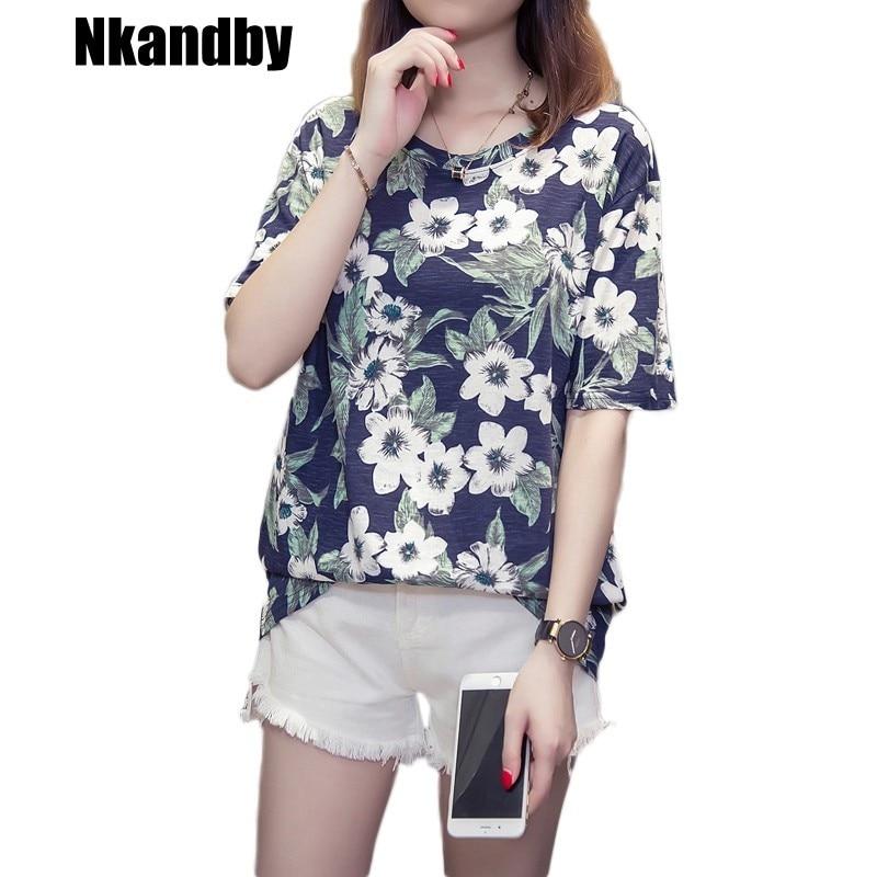 Nkandby Floral Printing Femme T-shirts 2019 Summer Casual Loose Half Sleeve Plus Size Woman Tshirt Bamboo Tops Mujer De Moda