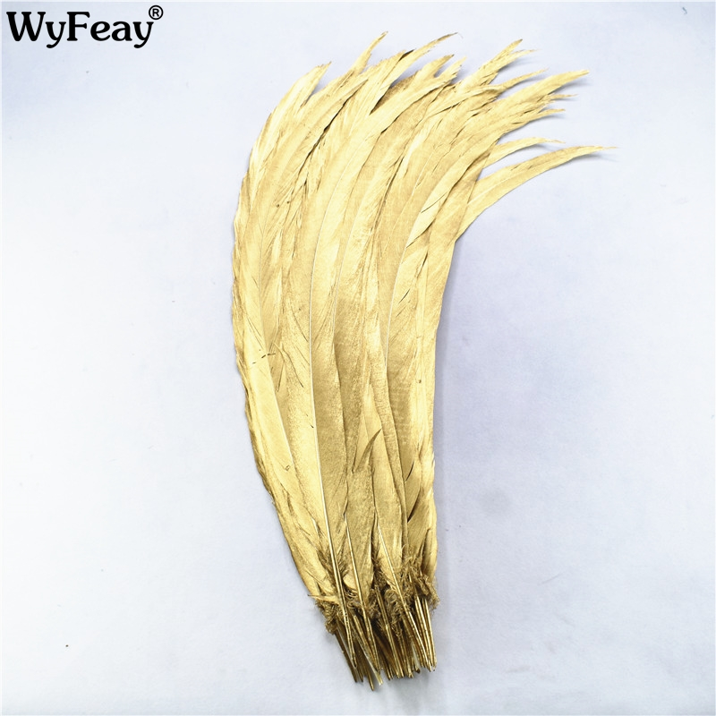 100Pcs Lot Dipped Dye Gold Silver Pheasant Tail Feathers 30 80CM 12 32inch Pheasant Feathers for