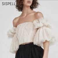 SISPELL セクシーなオフショルダーの女性トップスとブラウススラッシュネックフレアスリーブバックレスショートブラウス女性のシャツファッション服