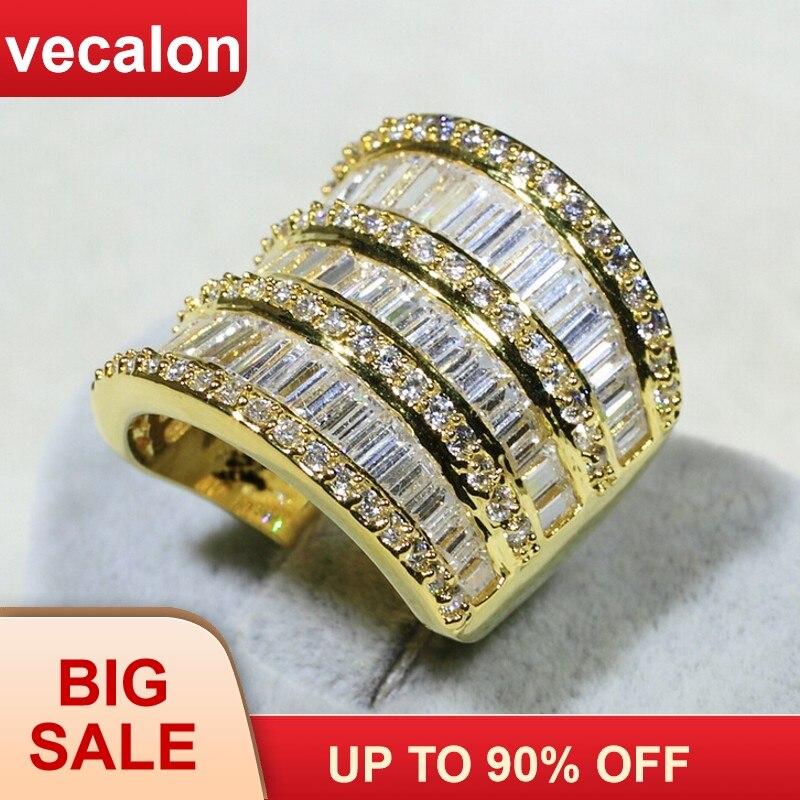 Vecalon luxe femmes bague en or jaune rempli AAAAA Zircon Cz 925 en argent Sterling gros bijoux de fiançailles bague de mariage