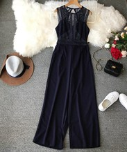 Euro-American Style Hollow Lace Jumpsuits Solid Women Summer Stitching Sleeveless High Waist Wide Leg Rompers