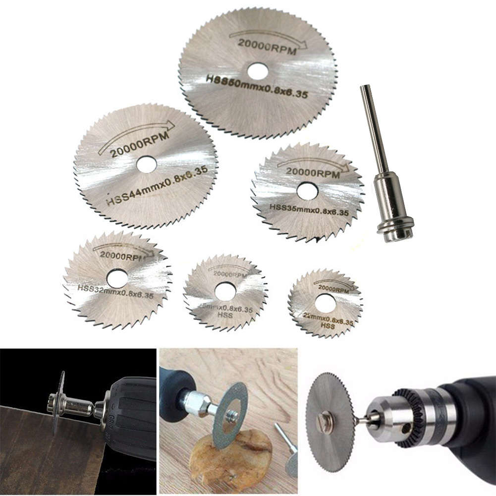 7Pcs/set Saw Blade Mandrel Discs Woodworking Rotary Circular Electric Grinder Tool High Speed Steel Cutting #30