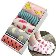 Fruit Women Short Socks 5 Pair/set Banana Watermelon Pineapple Print Cotton Women Socks Low Cut Summer Ankle Socks with Gift Box