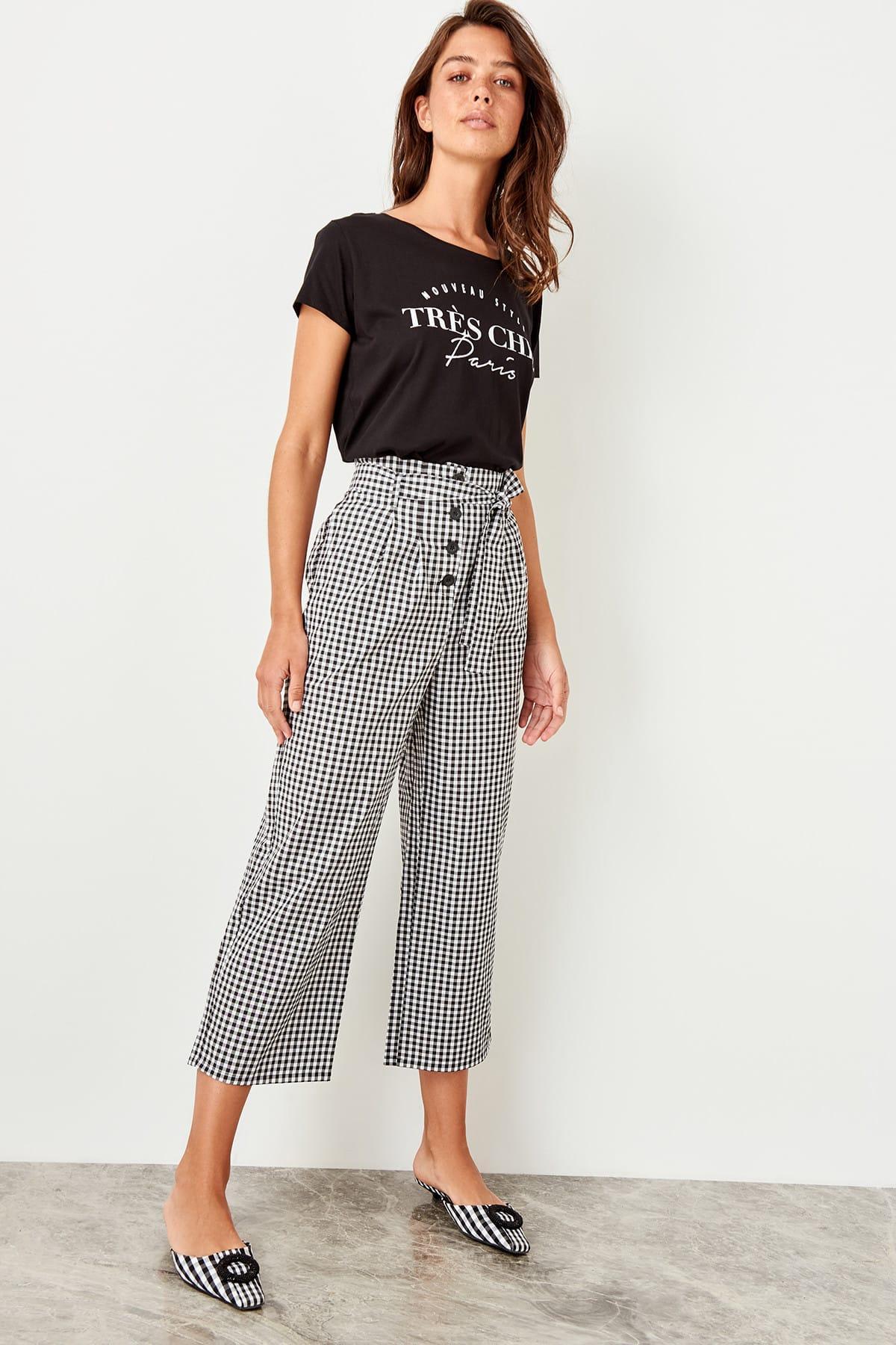 Trendyol Black High Waist Plaid Pants TWOSS19XB0176