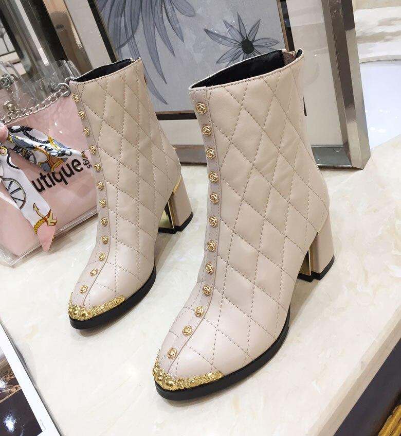 Court As Chaussures Zipper Piste Talons Métal Chaussons Pic Femmes Star Bottes D'hiver Fashion Pic as Chic Pour Chaudes Cuir Femme En Mi Décoration mollet D9IHE2