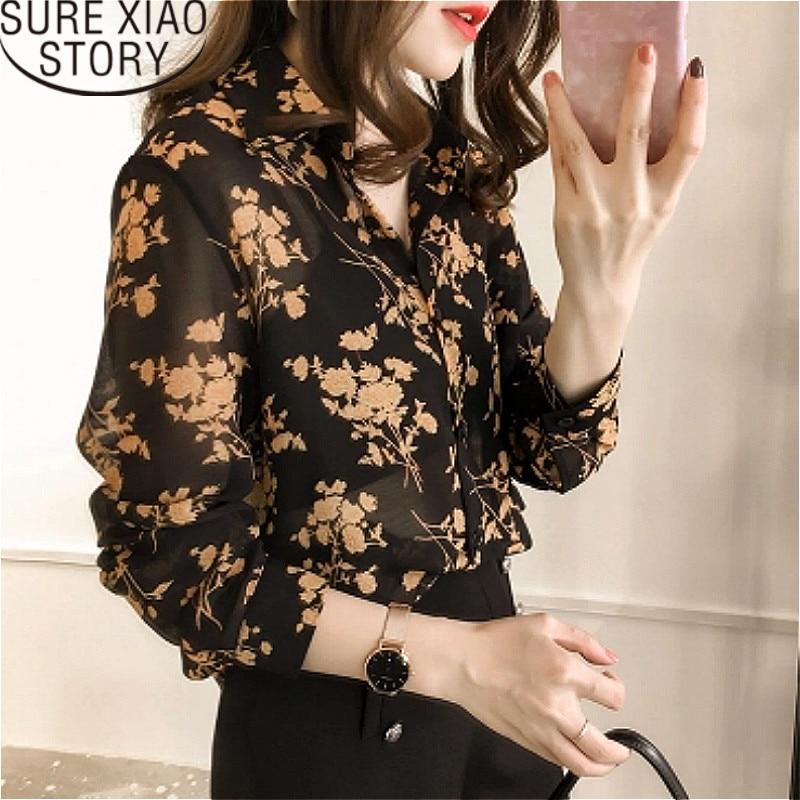womens tops   blouses   blusas mujer de moda 2019 Appliques Floral Turn-down Collar plus size women chiffon   blouse     shirts   1058 40