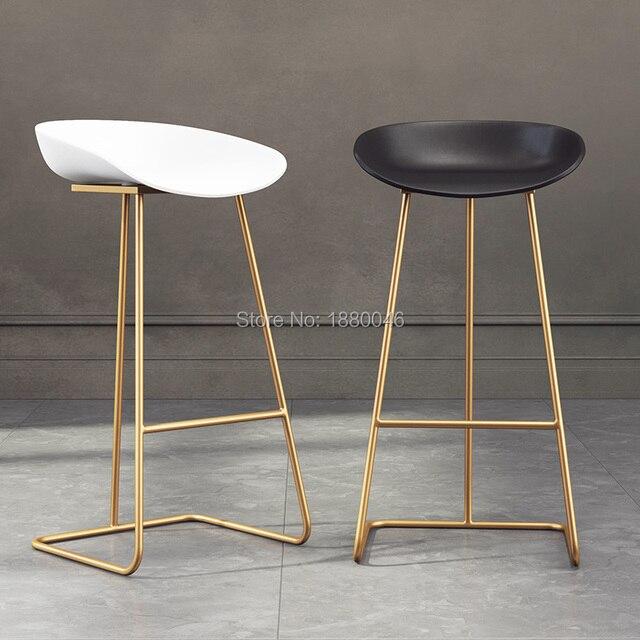 2019 New PU Leather Fabric Gold Chair  hotel chair for wedding  lift  Bar chair high stool creative coffee chair modern