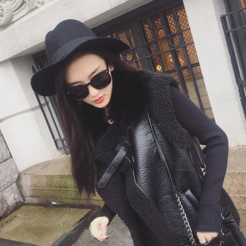 2018 Black Gilet Manches De Mode Arrivée Automne Kc026 Casual Sans Point Femmes Hiver Fourrure Poches Nouvelle Femelle Shengpalae Ouvrir Épaissir dCOHwAWqd